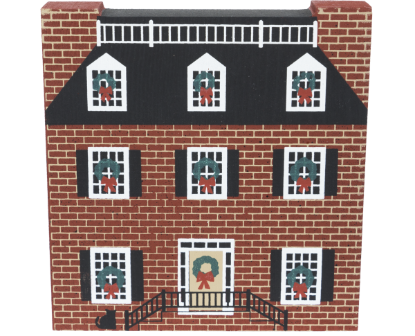 "Vintage Lafayette Square House from Savannah Christmas Series handcrafted from 3/4"" thick wood by The Cat's Meow Village in the USA"