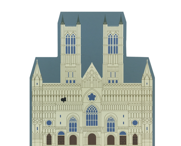 "Vintage Lincoln Cathedral from English Traveler Series handcrafted from 3/4"" thick wood by The Cat's Meow Village in the USA"