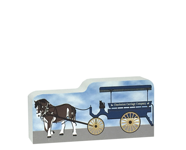 "A tour of Charleston, SC is best done on a local horse & carriage. Our 3/4"" thick wooden replica will remind you of that time in the Holy City."