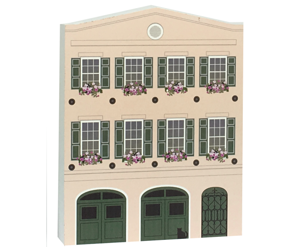 "Grab this replica of 91 East Bay Street, Charleston, SC. It's 1 of 13 row houses affectionately known as Rainbow Row. Handcrafted in Wooster, Ohio from 3/4"" thick wood."