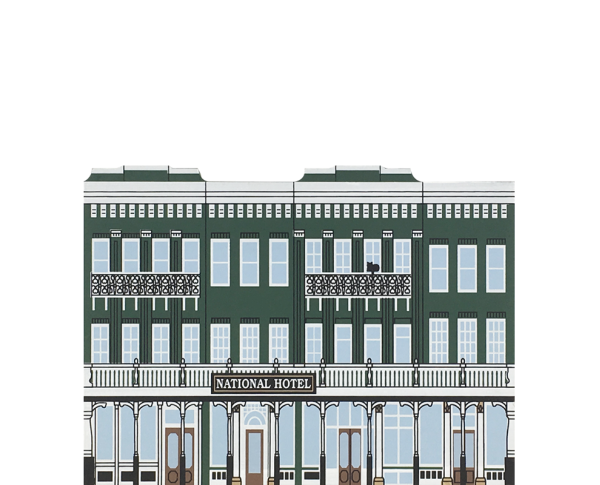 """Vintage National Hotel from California Gold Rush Series handcrafted from 3/4"""" thick wood by The Cat's Meow Village in the USA"""