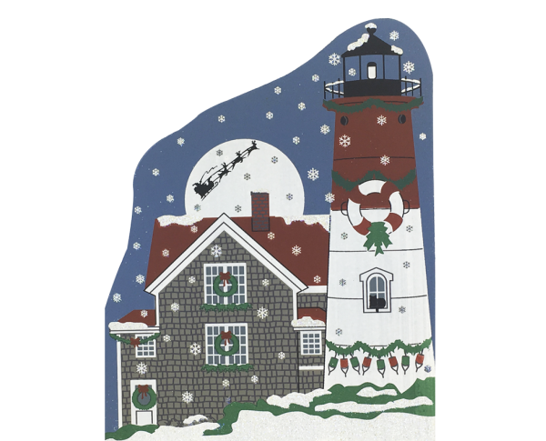 "Vintage Nauset Beach Lighthouse from Lighthouse Christmas Series handcrafted from 3/4"" thick wood by The Cat's Meow Village in the USA"