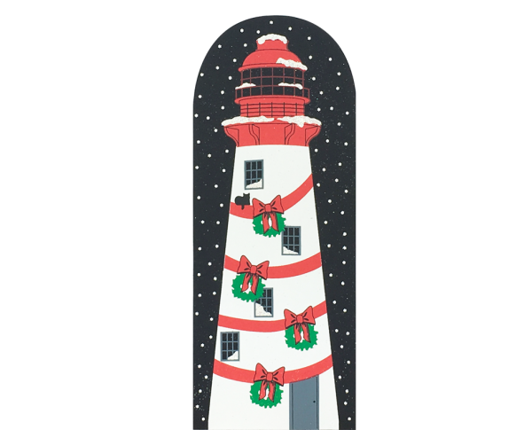 "North Pole Lighthouse from Vintage North Pole handcrafted from 3/4"" thick wood by The Cat's Meow Village in the USA"