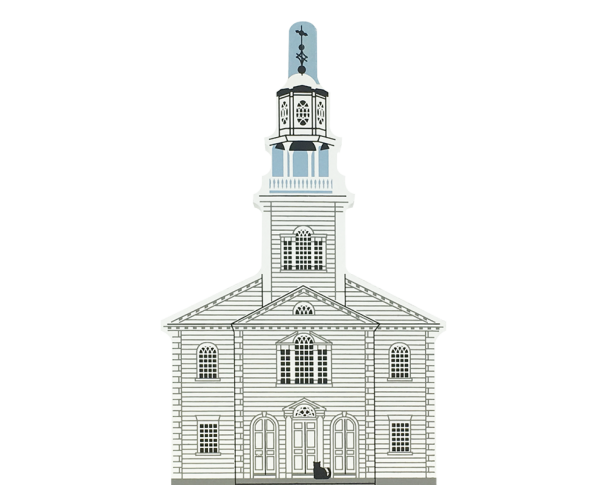 "Vintage Old Bennington Congregational Church from New England Church Series handcrafted from 3/4"" thick wood by The Cat's Meow Village in the USA"