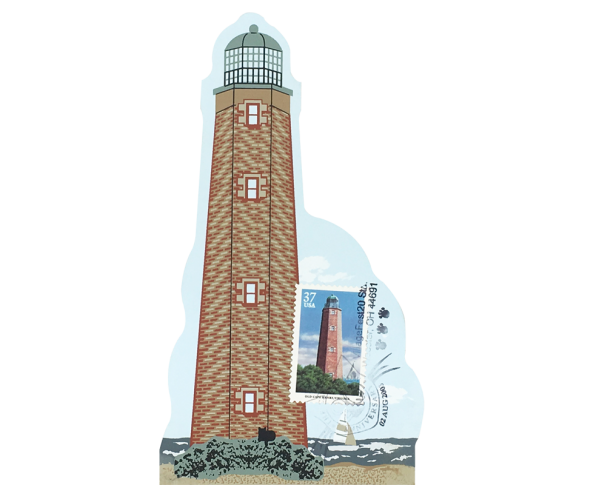 "Old Cape Henry Lighthouse w/ USPS Lighthouse Stamp from Southeastern Lighthouse Series handcrafted from 3/4"" thick wood by The Cat's Meow Village in the USA"