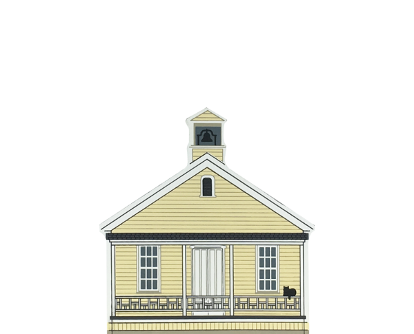 "Vintage Old Sacramento Schoolhouse from California Gold Rush Series handcrafted from 3/4"" thick wood by The Cat's Meow Village in the USA"