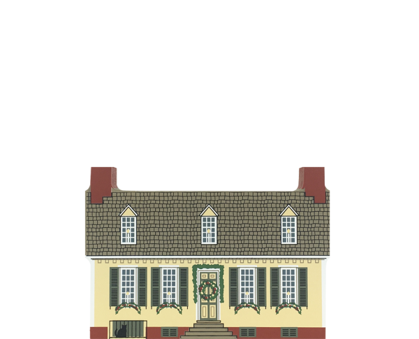 "Vintage Pitt House from Traditional Williamsburg Christmas Series handcrafted from 3/4"" thick wood by The Cat's Meow Village in the USA"