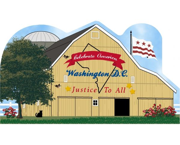 Handcrafted wooden shelf sitter of Washington DC State Barn created by The Cat's Meow Village