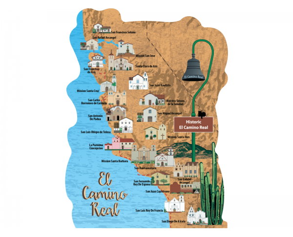 "Beautifully detailed map of the El Camino Real, Alta California. Handcrafted in the USA 3/4"" thick wood by Cat's Meow Village."