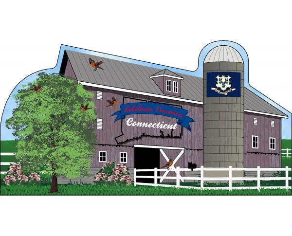 Connecticut State Barn including the state flag along with other state facts. The Nutmeg State.