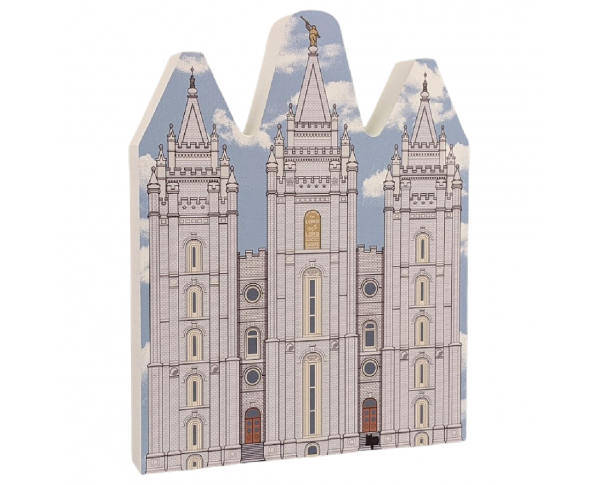 "Beautifully detailed replica of Salt Lake Temple, Salt Lake City, Utah. Handcrafted in the USA 3/4"" thick wood by Cat's Meow Village."