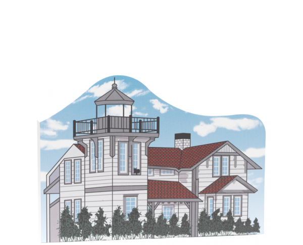 """Replica of the historic Ballast Point Lighthouse once located on the San Diego Bay. Handcrafted of 3/4"""" thick wood by The Cat's Meow Village in Wooster, Ohio."""