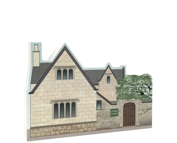 "Replica of Grammar School in Bampton, England which was transformed into the Cottage Hospital for Downton Abbey. Handcrafted of 3/4"" thick wood in the USA by The Cat's Meow Village."