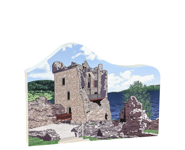 "Urquhart Castle On Loch Ness, Scotland. Handcrafted in the USA 3/4"" thick wood by Cat's Meow Village."