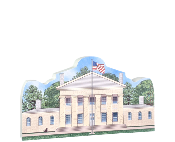 "Lovely replica of Arlington House, Robert E. Lee Memorial, NPS Arlington, VA. Handcrafted in the USA 3/4"" thick wood by Cat's Meow Village."