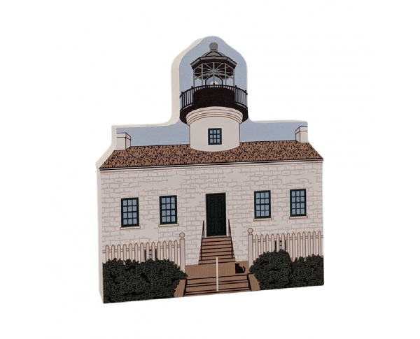 Remember your trip to Cabrillo National Monument in San Diego, CA with your very own replica of this Old Point Loma Lighthouse. We handcraft it in all it's colorful details in Wooster, Ohio. By The Cat's Meow Villge.