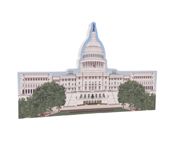 "Beautifully colorful and detailed replica of the U.S. Capital East, Washington, DC.  Handcrafted in 3/4"" thick wood by The Cat's Meow Village in the USA."