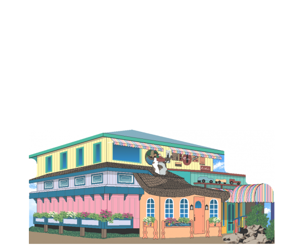 """Beautifully crafted replica of Bubble Room Restaurant, Captiva Island, Florida. Handcrafted in the USA 3/4"""" thick wood by Cat's Meow Village."""