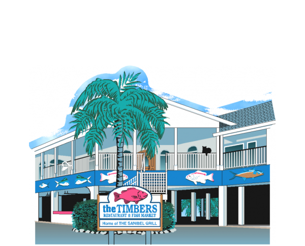 """Timbers Restaurant & Fish Market, Sanibel Island, Florida. Handcrafted in the USA 3/4"""" thick wood by Cat's Meow Village."""