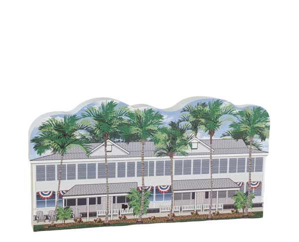 Remember your trip to Key West and Truman's Little White House with your very own replica of this house. We handcraft it in all its colorful details in Wooster, Ohio. By The Cat's Meow Village.