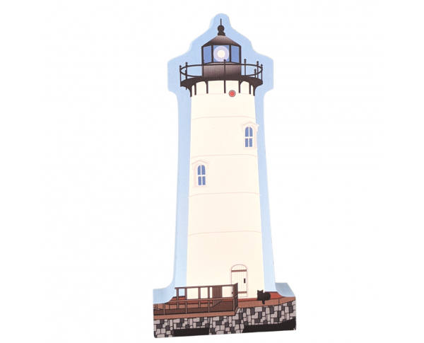 "Colorful and detailed replica of Portsmouth Harbor Lighthouse, New Castle, New Hampshire. Handcrafted in the USA 3/4"" thick wood by Cat's Meow Village."