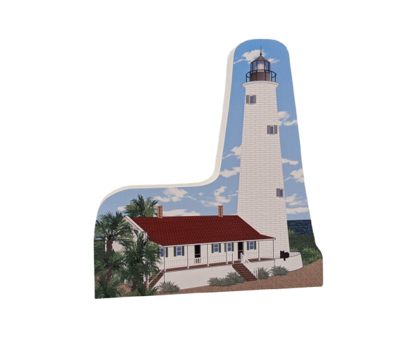 "Replica of St Marks lighthouse in Saint Marks, Florida. Handcrafted in 3/4"" thick wood by The Cat's Meow Village in the USA."