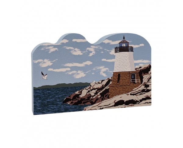 "Colorful and detailed replica of Castle Hill Lighthouse, Newport, Rhode Island. Handcrafted in the USA 3/4"" thick wood by Cat's Meow Village."