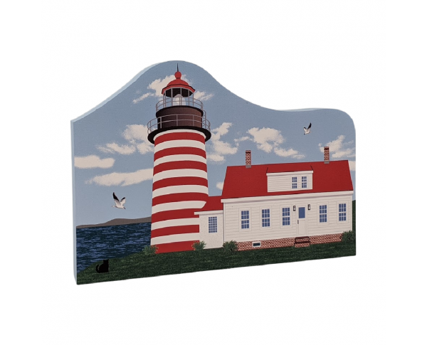"Colorful and detailed replica of West Quoddy Lighthouse, Lubec, Maine. Handcrafted in the USA 3/4"" thick wood by Cat's Meow Village."