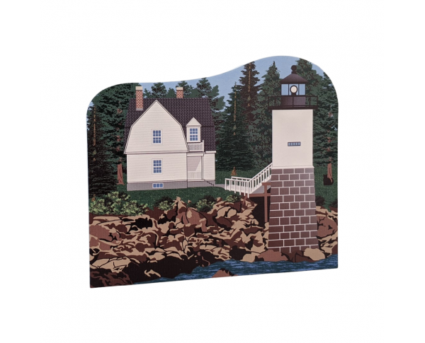 "Detailed replica of Isle Au Haut Lighthouse, Isle Au Haut, Maine. Handcrafted in the USA 3/4"" thick wood by Cat's Meow Village."