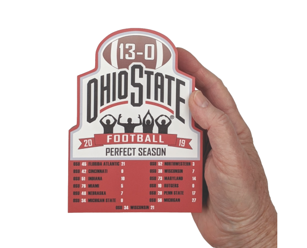 "Ohio State University Football 2019 Perfect Season Commemorative handcrafted in 3/4"" thick wood by The Cat's Meow Village in Wooster, Ohio."