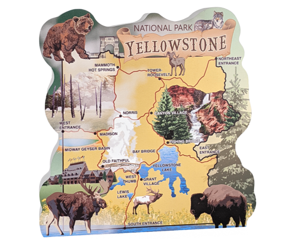 "Wooden map of Yellowstone National Park to bring home all your park memories. Handcrafted in 3/4"" thick wood by The Cat's Meow Village in the USA."