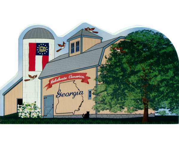 Georgia State Barn including the state flag along with other state facts. The Peach State.