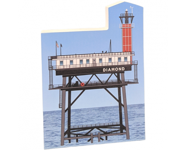 "Diamond Shoals Light, Cape Hatteras, North Carolina.  Handcrafted in the USA 3/4"" thick wood by Cat's Meow Village."
