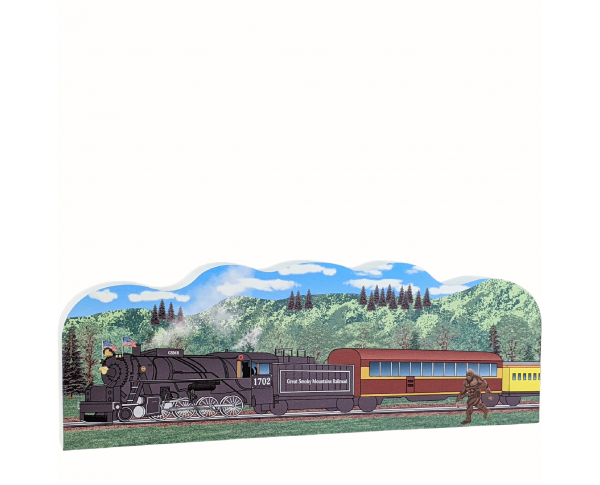"Great Smoky Mountain Railroad, Bryson City, North Carolina. Handcrafted in the USA 3/4"" thick wood by Cat's Meow Village."
