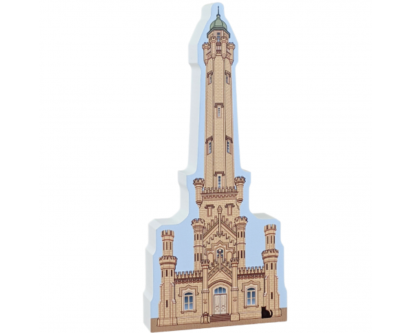 "Chicago Water Tower, Chicago, Illinois. Handcrafted in the USA 3/4"" thick wood by Cat's Meow Village."