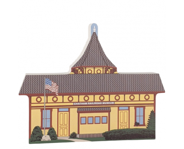 "Colorful replica of Chatham Railroad Station, Chatham, Cape Cod, Massachusetts.  Handcrafted in the USA 3/4"" thick wood by Cat's Meow Village."