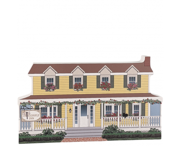 """Dragonfly Inn, Stars Hollow, Gilmore Girls. Handcrafted in the USA 3/4"""" thick wood by Cat's Meow Village."""