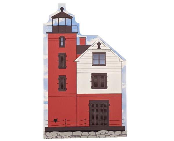 "Round Island Lighthouse, Straits of Mackinac, Michigan. Handcrafted in the USA 3/4"" thick wood by Cat's Meow Village."