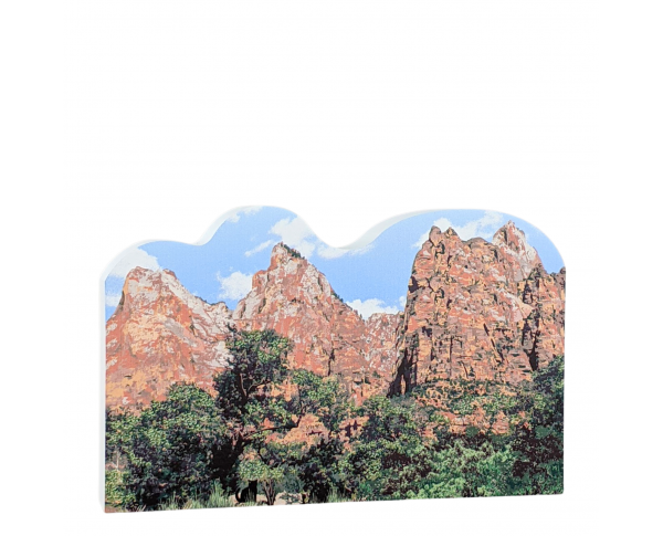 "Court of the Patriarchs, Zion National Park, Utah. Handcrafted in the USA 3/4"" thick wood by Cat's Meow Village."