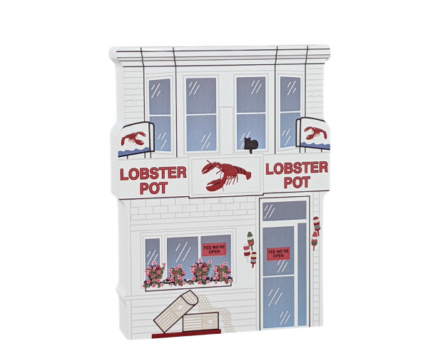 "Lobster Pot Restaurant, Provincetown, Massachusetts, Cape Cod. Handcrafted in the USA 3/4"" thick wood by Cat's Meow Village."