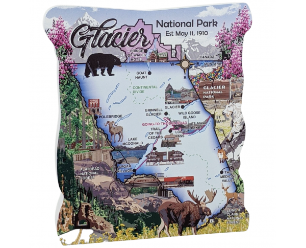 "Glacier National Park Map, Montana.  Handcrafted in the USA 3/4"" thick wood by Cat's Meow Village."