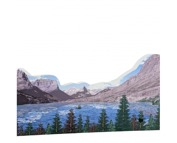 "Wild Goose Island, Glacier National Park, Montana. Handcrafted in the USA 3/4"" thick wood by Cat's Meow Village."