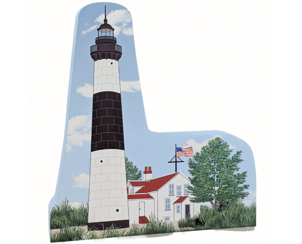 """Big Sable Point Lighthouse, Ludington, Michigan. Handcrafted in the USA 3/4"""" thick wood by Cat's Meow Village."""