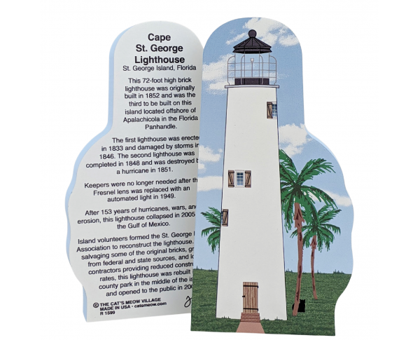 "Cape St. George Lighthouse, St. George Island, Florida. Handcrafted in the USA 3/4"" thick wood by Cat's Meow Village."