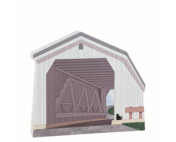 "Green Sergeant Covered Bridge, New Jersey. Handcrafted in the USA 3/4"" thick wood by Cat's Meow Village."