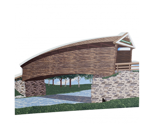 "Humpback Covered Bridge, Virginia. Handcrafted in the USA 3/4"" thick wood by Cat's Meow Village."