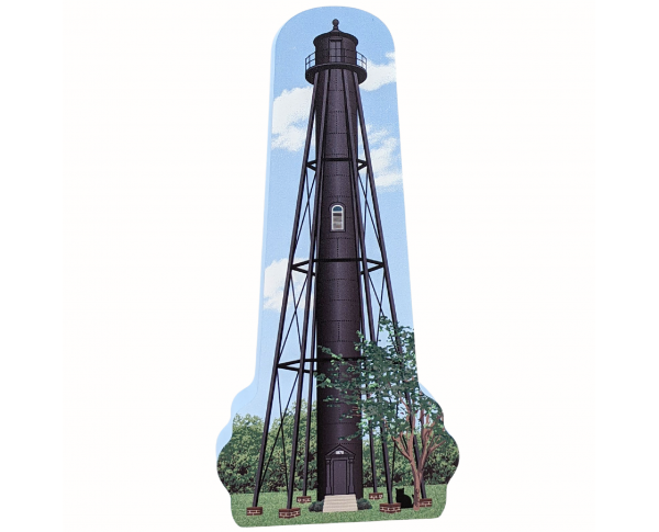 """Finns Point Lighthouse, Pennsville, New Jersey.  Handcrafted in the USA 3/4"""" thick wood by Cat's Meow Village."""