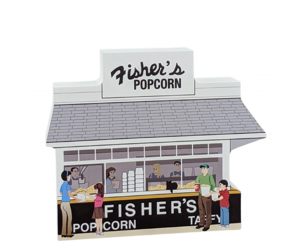 """Fisher's Popcorn, Ocean City, Maryland. Handcrafted in the USA 3/4"""" thick wood by Cat's Meow Village."""