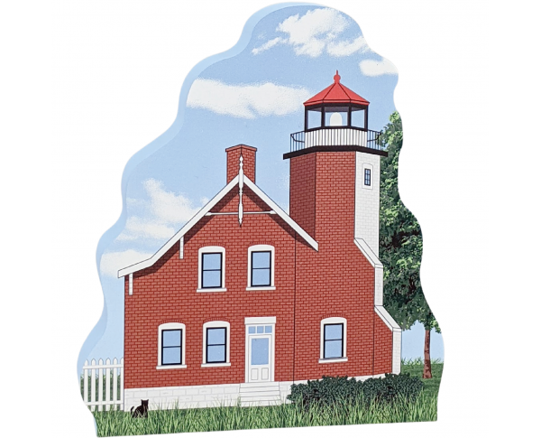 """Wooden replica of Eagle Harbor Lighthouse in Michigan. Add this 3/4"""" thick lighthouse to your home decor. Handcrafted by The Cat's Meow Village in Wooster, Ohio."""