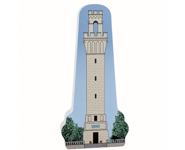 """Wooden replica of Pilgrim Monument in PTown (Provincetown), Massachusetts. Handcrafted in 3/4"""" thick wood by the Cat's Meow Village in the USA."""